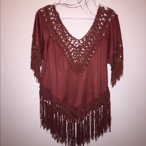 💚 2/$15 💚 Buckle Fringe Top, Sz M